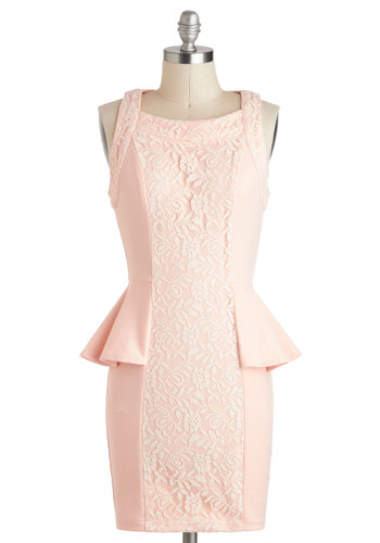 Bruncheon Dress - Pink, Solid, Lace, Daytime Party, Peplum, Sleeveless, Boat, Short, White, Shift, Pastel