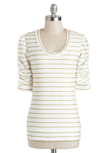 Kiwi Be Friends? Top - White, Tan / Cream, Stripes, Casual, 3/4 Sleeve, Ruching, Minimal, Scoop, Mid-length, Travel