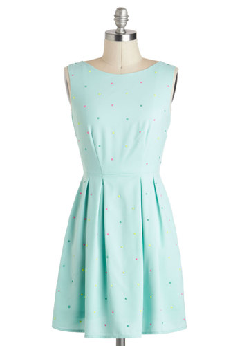 Sweet Success Dress - Pastel, Blue, Yellow, Green, Pink, Polka Dots, Pleats, Party, A-line, Sleeveless, Boat, Graduation, Short, Summer
