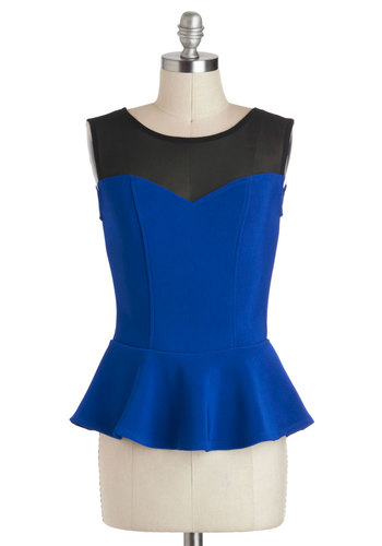 Clock Out On The Town Top in Sapphire - Short, Blue, Black, Solid, Cocktail, Girls Night Out, Peplum, Sleeveless, Variation, Pinup, Blue, Sleeveless
