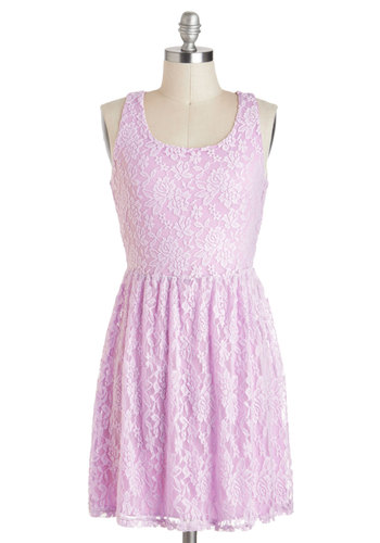 Dawn the Town Dress - Purple, White, Solid, Backless, Party, A-line, Tank top (2 thick straps), Lace, Fairytale, Pastel, Spring