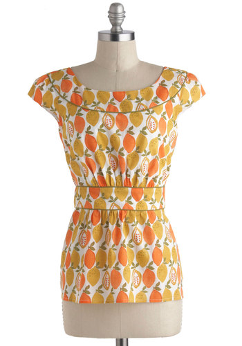 Cool With Me Top in Citrus by Emily and Fin - International Designer, Cotton, Multi, Orange, Yellow, White, Print, Daytime Party, Vintage Inspired, Fruits, Cap Sleeves, 60s, 70s, Variation, Pinup, Summer, Novelty Print