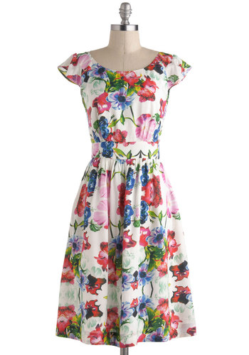 Get What You Dessert Dress in Vibrant Blooms by Emily and Fin - Floral, Casual, A-line, Cap Sleeves, Spring, International Designer, Pleats, Ruffles, Boat, Pockets, Vintage Inspired, 50s, Multi, Graduation, Summer, Variation, Long