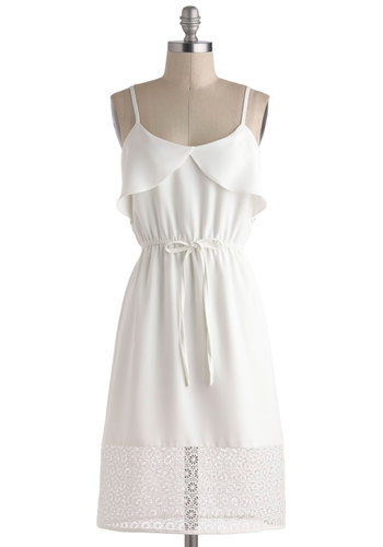 A Walk in Augusta Dress - White, Solid, Ruffles, A-line, Spaghetti Straps, Spring, Sheer, Mid-length, Daytime Party, Crochet, Graduation