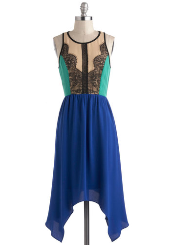 Get in the Mix Dress - Blue, Lace, A-line, Sleeveless, Fall, Mid-length, Green, Pink, Black, Handkerchief, Party, Colorblocking, Cocktail