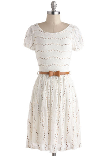 Dramatic Monologue Dress in White - Belted, Casual, A-line, Short Sleeves, Solid, Eyelet, Mid-length, White, Bows, Graduation, Sheer, Variation, Summer