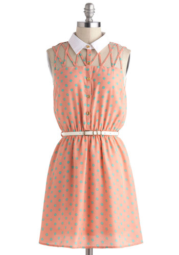 Lattice Night Dress - Pink, Polka Dots, Belted, Casual, A-line, Sleeveless, Collared, Short, Blue, White, Buttons, Cutout, Shirt Dress, Pastel, Summer