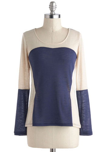 The Cutting Edge of Casual Top - Multi, Blue, Tan / Cream, Solid, Casual, Long Sleeve, Scoop, Mid-length, Travel