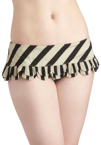 Betsey Johnson Pools and Thank You Swimsuit Bottom by Betsey Johnson - Black, Stripes, Ruffles, Scallops, Tiered, Beach/Resort, Film Noir, Summer, Tan / Cream, Gold