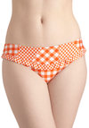Betsey Johnson Backyard Dip Swimsuit Bottom by Betsey Johnson - Orange, White, Checkered / Gingham, Beach/Resort, Ruffles, Summer