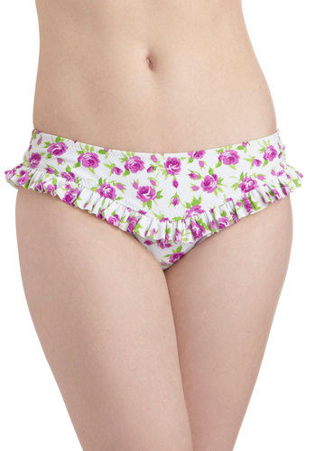 Betsey Johnson Violets Get Together Swimsuit Bottom by Betsey Johnson - Green, Floral, Ruffles, Beach/Resort, Purple, Summer, White