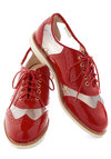 Rachel Antonoff for Bass New Orleans Attitude Shoe in Red by Bass - Red, Solid, Menswear Inspired, Lace Up, Low, Leather