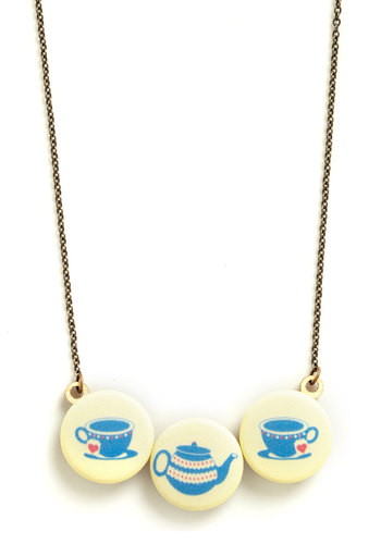 Steep and You Shall Find Necklace - Blue, Yellow, Print, Buttons, Novelty Print, Vintage Inspired, Pastel