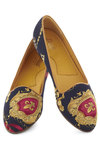 Down Luxury Lane Flat by Bass - Blue, Multi, Print, Low, Casual, Scholastic/Collegiate