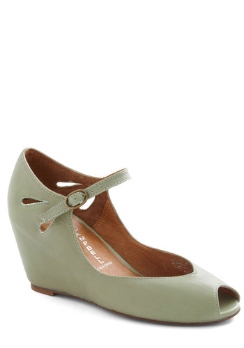 Hello Darling Wedge in Pistachio by Jeffrey Campbell - Green, Solid, Cutout, Wedge, Peep Toe, Mid, Leather, Variation