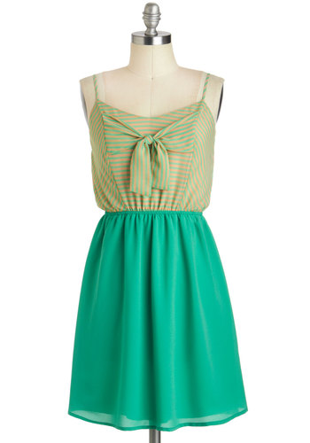 Peppermint Patties Dress - Short, Green, Tan / Cream, Stripes, Casual, A-line, Twofer, Spaghetti Straps, Bows