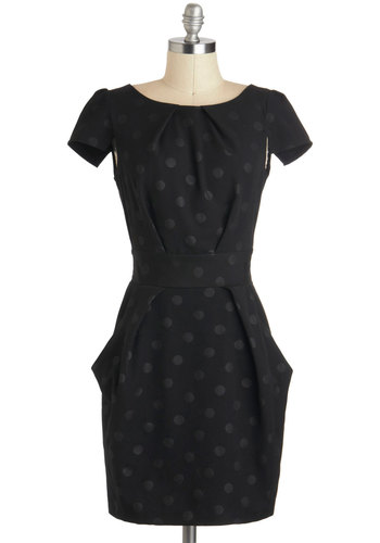 Tapioca Dokey Dress in Noir - Mid-length, Black, Polka Dots, Pleats, Pockets, Party, Shift, Short Sleeves, Boat, Exposed zipper, Cocktail, Film Noir, Vintage Inspired, 40s, Variation, Work, LBD, Gifts Sale