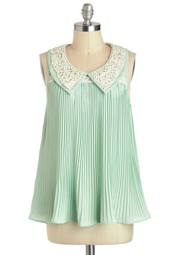 Everything A Twirl Could Want Top - Mid-length, Mint, White, Solid, Lace, Peter Pan Collar, Pleats, Party, Daytime Party, Vintage Inspired, Pastel, Sleeveless, Collared, Tent / Trapeze, Summer