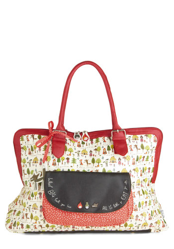 Hop a Ferry-tale Bag by Disaster Designs - Red, Multi, Print, Bows, Fairytale, Novelty Print, Faux Leather