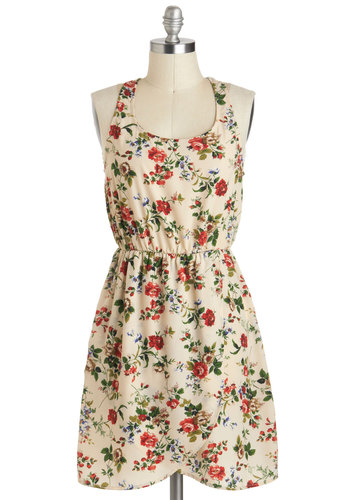 Front Rose Seats Dress - Mid-length, Cream, Multi, Floral, Casual, A-line, Racerback, Scoop