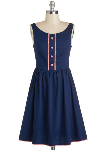 Dropping Hints Dress - Blue, Buttons, Mid-length, Red, Solid, Casual, A-line, Tank top (2 thick straps), Work, Nautical, Spring, Vintage Inspired, 50s, 60s, Fit & Flare, Cotton