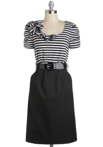 Pacific Park Dress in Black - Long, Black, White, Stripes, Flower, Pockets, Belted, Work, Shift, Short Sleeves, Variation