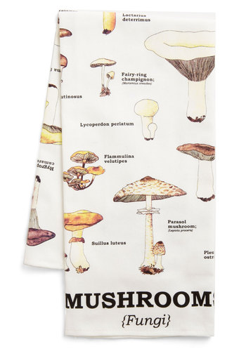 Toadstool for School Tea Towel - Multi, Vintage Inspired, Rustic, Print, Cotton, Mushrooms