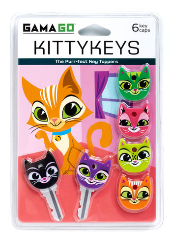 A Lock to Love Key Cap Set by Gama-Go - Multi, Kawaii, Print with Animals, Quirky, Cats, Good, Critters