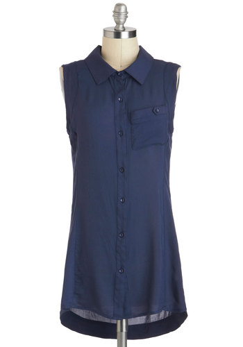 Moonlight Meeting Tunic - Sheer, Long, Blue, Solid, Buttons, Pockets, Work, Sleeveless, Collared, Casual, Menswear Inspired, Minimal, Summer, Travel