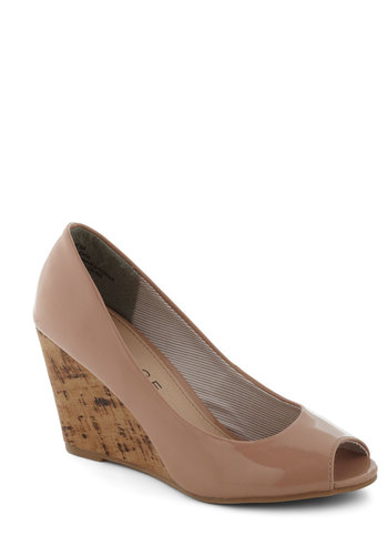 You're My Sole-Mate Wedge - Tan, Solid, Peep Toe, Wedge, Mid, Work, Minimal, Faux Leather, Spring