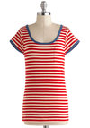 Down in the Galley Top - Multi, Red, Blue, White, Stripes, Buttons, Pockets, Casual, Nautical, Short Sleeves, Scoop, Mid-length, Summer
