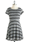 Sound Wave Hello Dress - Sheer, Short, Black, Grey, Print, Exposed zipper, Knitted, Casual, A-line, Short Sleeves, Exclusives, Chevron