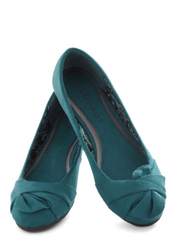 Steal Away Flat - Blue, Solid, Bows, Ruching, Flat