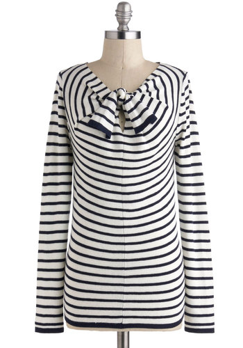 Give it a Whirlpool Sweater - Multi, Blue, White, Bows, Casual, Nautical, Long Sleeve, Mid-length