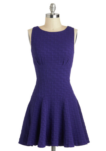 The Perfect Thatch Dress - Short, Purple, Solid, Exposed zipper, Pleats, Party, Fit & Flare, Sleeveless, Boat, Variation