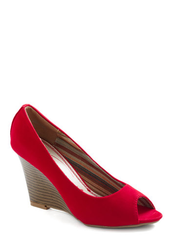 Headlines to Toe Wedge - Red, Wedge, Peep Toe, Mid, Party, Pinup