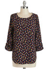 Zoom Bisou Top in Abstract Floral - Blue, Red, White, Floral, Mid-length, Yellow, Work, 3/4 Sleeve, Variation