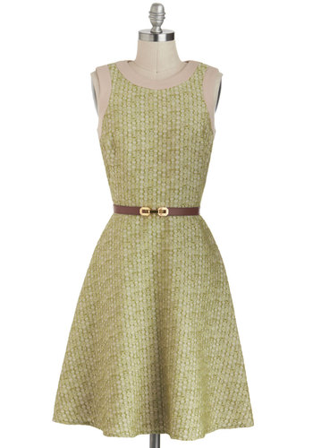 Dress Pass - Long, Green, Tan / Cream, Pockets, Belted, Work, A-line, Sleeveless, Print