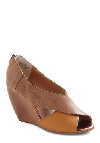 Common Ground Wedge by Seychelles - Brown, Tan, Solid, High, Wedge, Casual, Beach/Resort, Leather