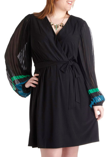 All In The Wrist Dress in Plus Size - Black, Green, Blue, Solid, Party, Wrap, Long Sleeve, V Neck, Pleats, Belted, Formal, Holiday Party, Vintage Inspired, 60s