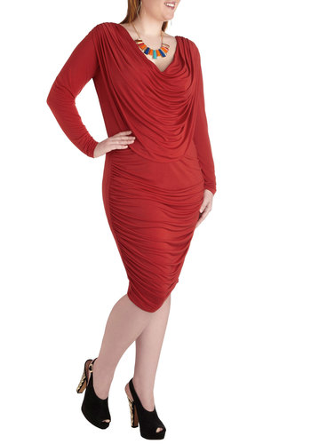 From Good to Drape Dress in Plus Size by Monif C - Red, Solid, Ruching, Party, Bodycon / Bandage, Long Sleeve, Cowl, Cocktail, Luxe, Minimal, Formal, Holiday Party, Pinup, 60s