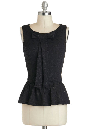 Befitting Your Fancy Top - Mid-length, Black, Solid, Bows, Lace, Party, Work, Cocktail, Girls Night Out, Film Noir, Vintage Inspired, Sleeveless, Peplum
