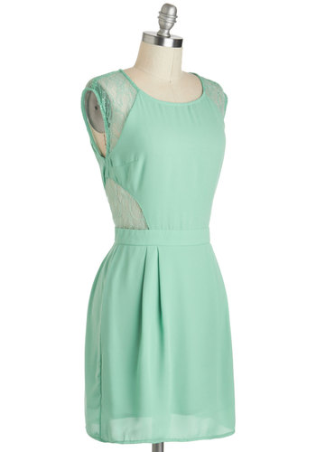 Cookie Tour Champion Dress - Pastel, Mid-length, Mint, Solid, Lace, Pleats, Party, Sheath / Shift