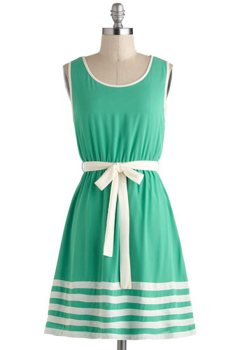 Toot Your Own Greenhorn Dress - Green, White, Belted, Casual, A-line, Tank top (2 thick straps), Stripes, Spring, Summer, Mid-length