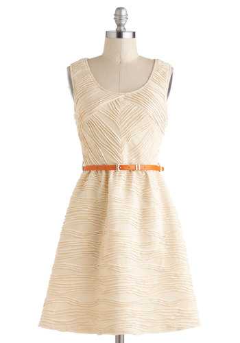 Coconut Layer Cake Dress - Short, Cream, Cutout, Belted, Party, A-line, Tank top (2 thick straps), Graduation, Summer