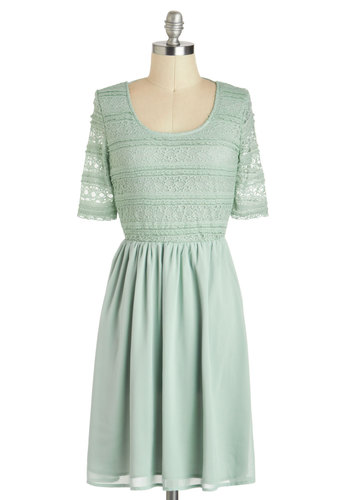 Sage of Aquarius Dress - Mid-length, Mint, Solid, Backless, Lace, Party, A-line, Short Sleeves, Daytime Party, Fairytale, Pastel, Scoop, Summer