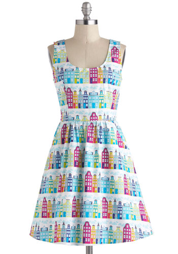Rainbow Row Dress - Novelty Print, Cotton, Mid-length, Pockets, Casual, Fit & Flare, Tank top (2 thick straps), Exclusives, Multi, Scoop