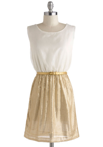 On the Sheen Dress - Belted, White, Gold, Solid, Sequins, Party, A-line, Tank top (2 thick straps), Short