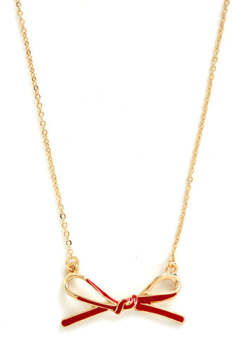 Dash of Darling Necklace - Gold, Red, Solid, Bows, Gold