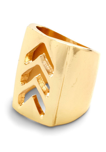 Fun Direction Ring - Gold, Solid, Cutout, Chevron